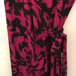 Lily Dresses - Black and Pink Floral Wrap Midi Dress